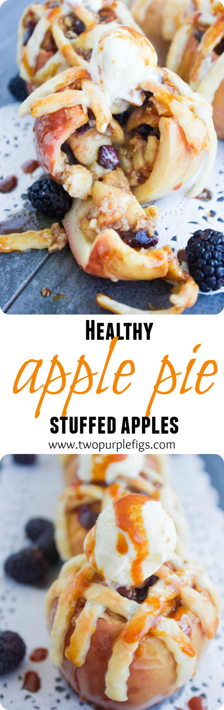 Apple Pie Stuffed Apples - these baked apples with pie lattice topping are every apple pie lovers wish come true—the whole flavor of apple pie but with half the calories and absolutely none of the guilt. #pie, #healthy, #thanksgiving, #dessert, #easy