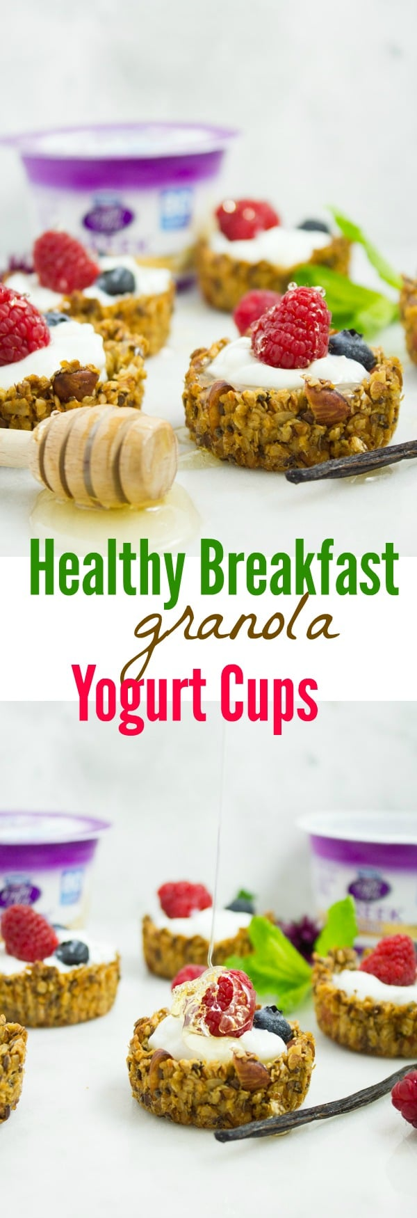 Healthy Breakfast Granola Yogurt Cups | What better way to start your day than with these cute homemade Breakfast Granola Cups filled with creamy Greek Yogurt and topped with your favorite fruits and nuts! A healthy yet decadent bite sized breakfast treat your whole family will LOVE! #brunch, #breakfast, #bitesized, #buffet, #yogurt, #healthy