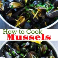 Long Pin for How to Cook Mussels with Garlic and Lemon Sauce