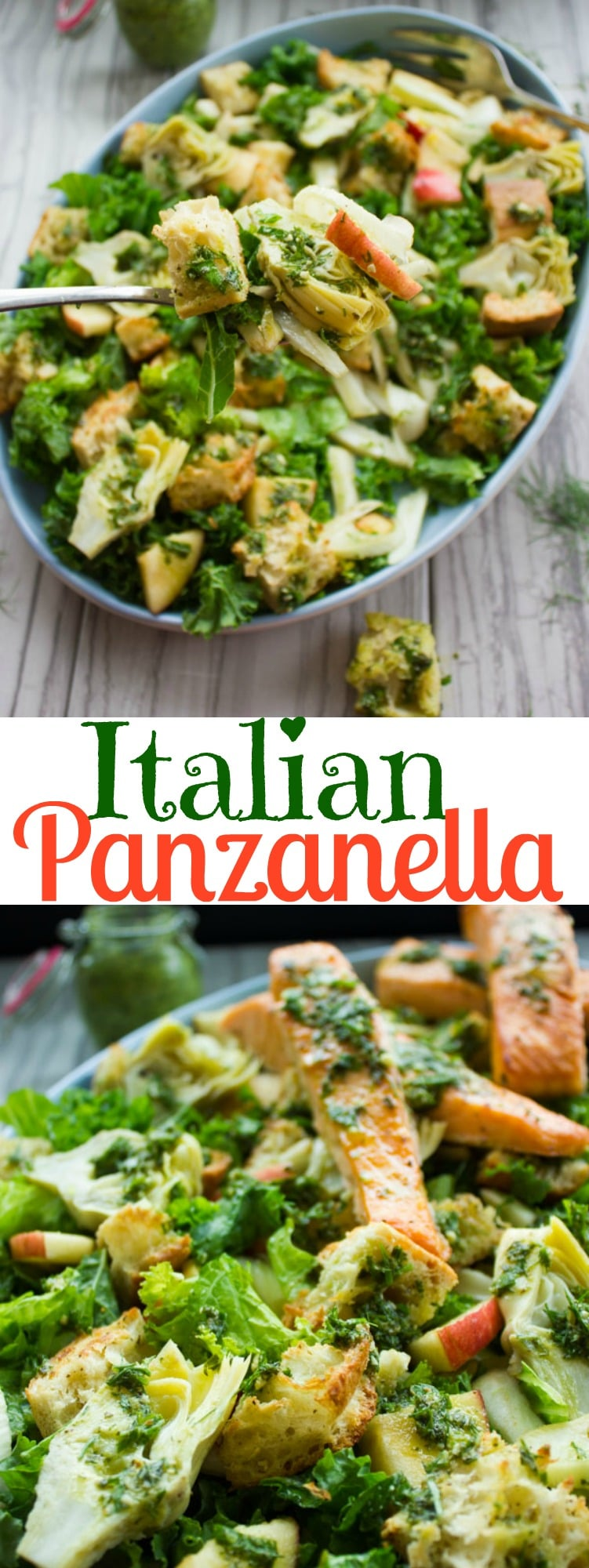 This gorgeous Italian Panzanella Salad with Kale, Artichoke Hears, Apple Slices, and Fennel makes for a wonderful springtime meal. Tossed with Basil Dressing and served with broiled salmon on top, this Italian classic is special and sophisticated enough to be served at any dinner party. #saladrecipes, #panzanella, #salmonrecipes, #dinnerpartyideas