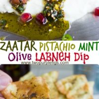 Easy Mediterranean Labneh Dip with Zaatar Pistachio Mint Topping - a light and healthy appetizer perfect for parties #labneh, #appetizer, #dip, #olives, #keto, #partyfood, #healthy,