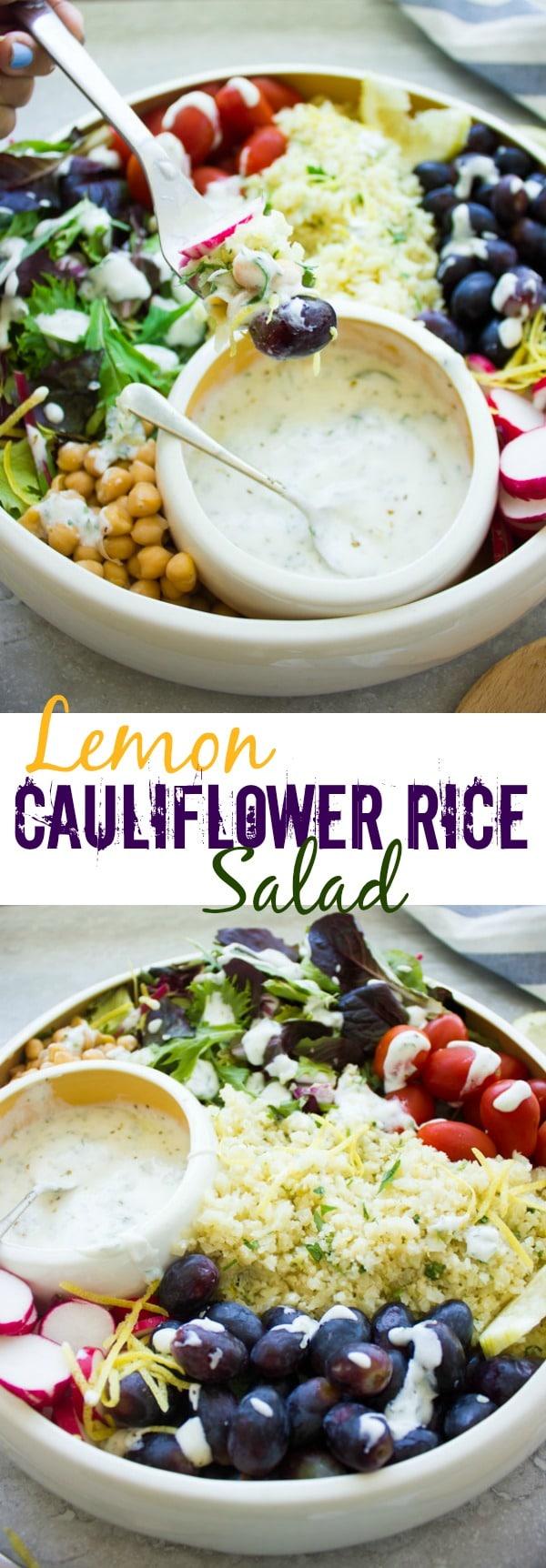 Lemon Cauliflower Rice with Yogurt Dressing - a healthy low-carb recipe #healthy, #lowcarb, #glutenfree, #cauliflower, #easy