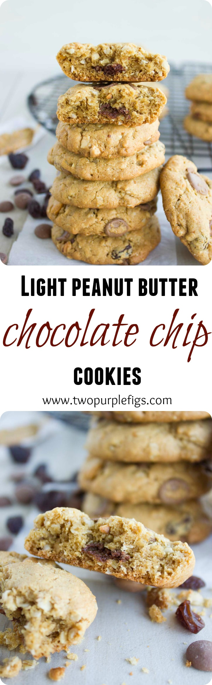 Peanut Butter Chocolate Chip Cookies - these healthy cookies are gluten-free, low in sugar and have no oil, butter or flour added! These soft and chewy cookies with melty pockets or chocolate are a heavenly treat and the perfect lunchbox snack for kids! #glutenfree, #cookies, #oats, #raisins, #chocolate, #easy, #baking, #healthy,