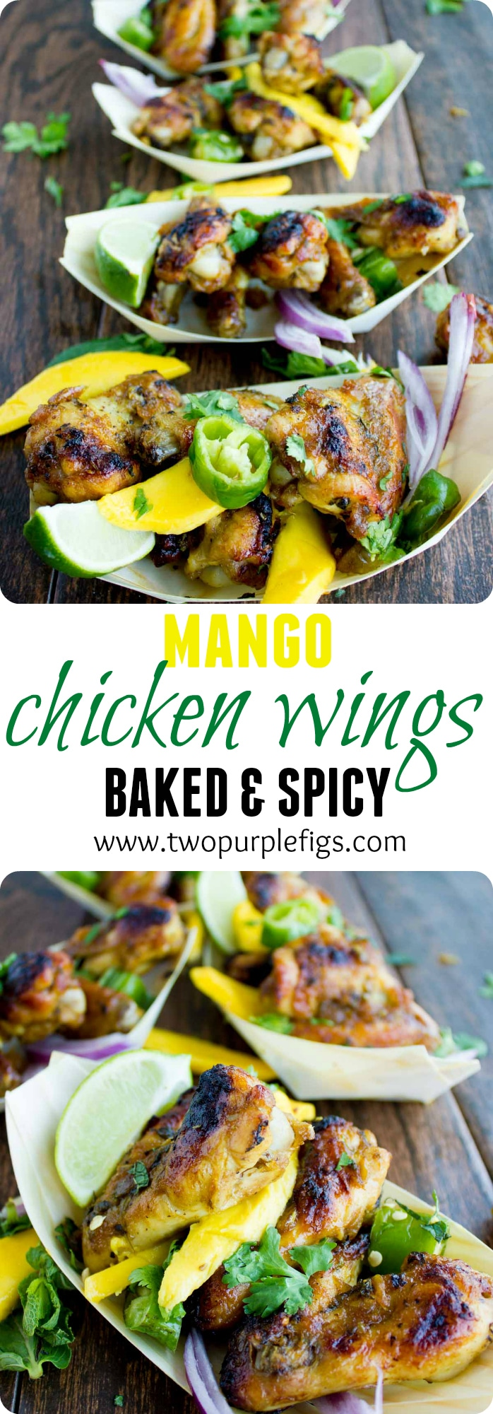 Sweet & Spicy Baked Chicken Wings with Mango Chutney | These Sweet and Spicy Chicken Wings are smothered with homemade mango chutney, then baked until tender and crispy with a perfectly caramelized skin! Try this exotic andhealthytwist on traditional fried chicken!#chicken, #dinner, #easy, #baked, #healthy, #dinner, #kids, #exotic, #fingerfood, #fastfood
