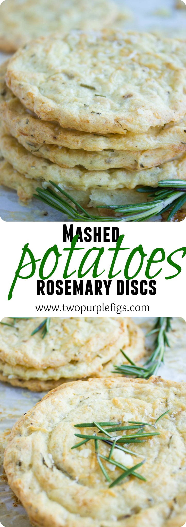 Mashed Potatoes Rosemary Discs | If life gives you leftover mashed potatoes, make these Mashed potatoes Rosemary Crisps! Being gluten-free and paleo, they make for the perfect crowd-pleasing accompaniment for a classic Sunday Roast - but these also taste delicious as a little savory snack! Season them with any herbs or cheeses you want. #side, #snack, #paleo, #glutenfree, #easy, #Thanksgiving, #realfood