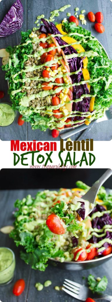 Mexican Lentil Detox Salad | This easy vegan salad with mangoes, soybeans, cabbage, kale, corn and apple slices is just what the doctor ordered! Serve this easy Mexico-inspired salad with my Green Goddess Guacamole Dressing for a healthy paleo meal. | www.twopurplefigs.com | #vegan, #salad, #Mexican, #paleo, #detox, #cleaneating, #easy, #mealprep