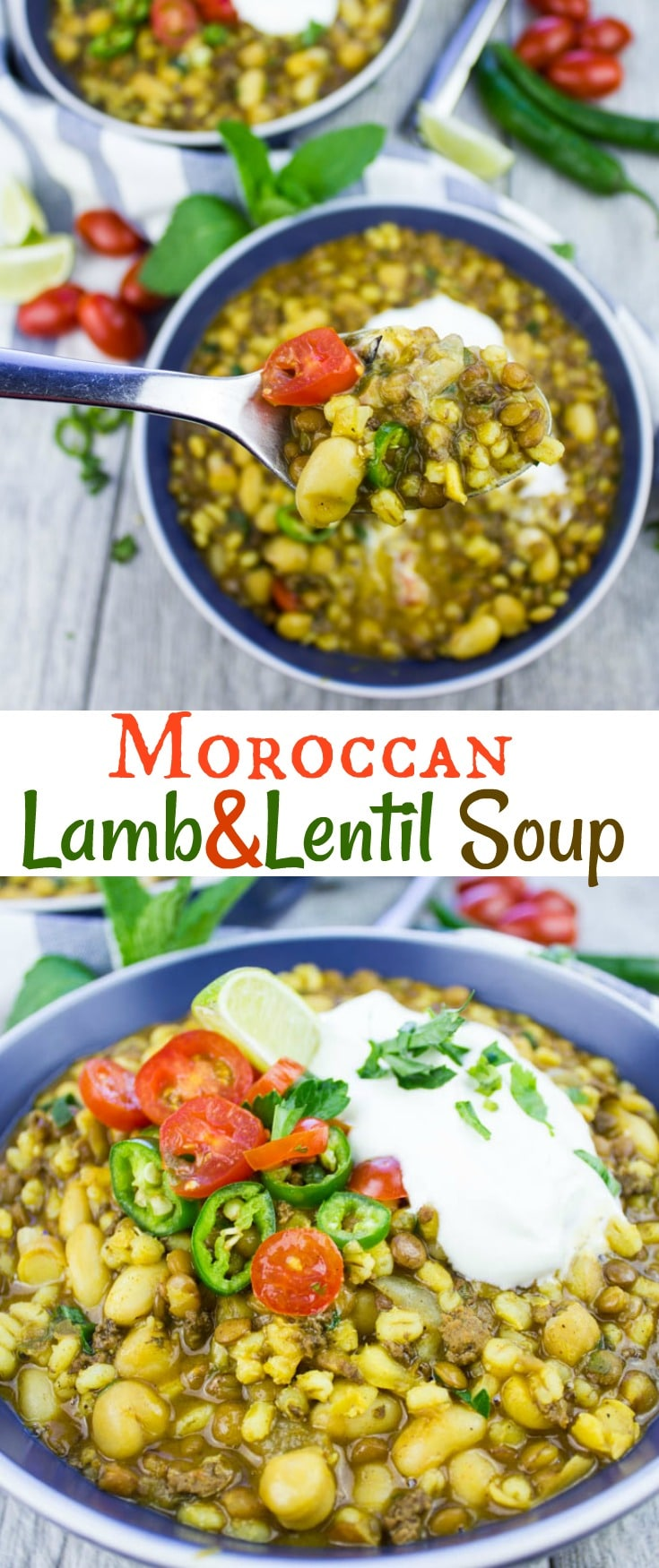 This Moroccan Lentil Soup with turmeric and lamb is comfort in a bowl. And while it's categorized as a soup, it's a full meal on its own. Ground lamb, healthy lentils and healing turmeric - a nutritious comfort food soup made in an instant pot in 30 minutes #lentilsoup, #groundlambrecipes, #instantpotrecipes, #pressurecooking, #Moroccanrecipes