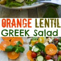 Orange Lentil Greek Salad - Pin