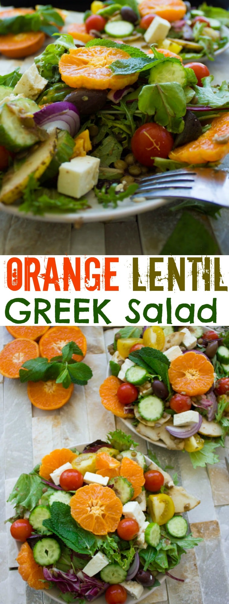 Orange Lentil Greek Salad | With sliced oranges, pears, fresh mint and green lentils, this Orange Lentil Greek Salad is a modern and fruity twist on the salad classic. Tossed with a zesty Mediterranean Orange Dressing, this healthy salad makes for a filling main course. Skip the feta to make this a vegan salad. #saladrecipes, #vegan, #glutenfree, #realfood, #healthy, #cleaneating