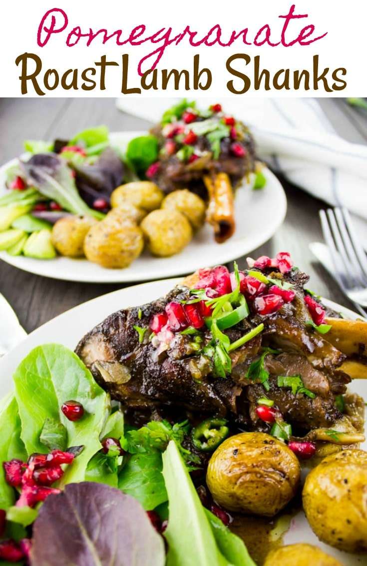 These fall-off-the-bone tender, slow-roasted lamb shanks are flavored with sweet homemade pomegranate molasses, nutmeg,and cinnamon. The perfect main for your holiday table!#lambshanks, #roastedlamb