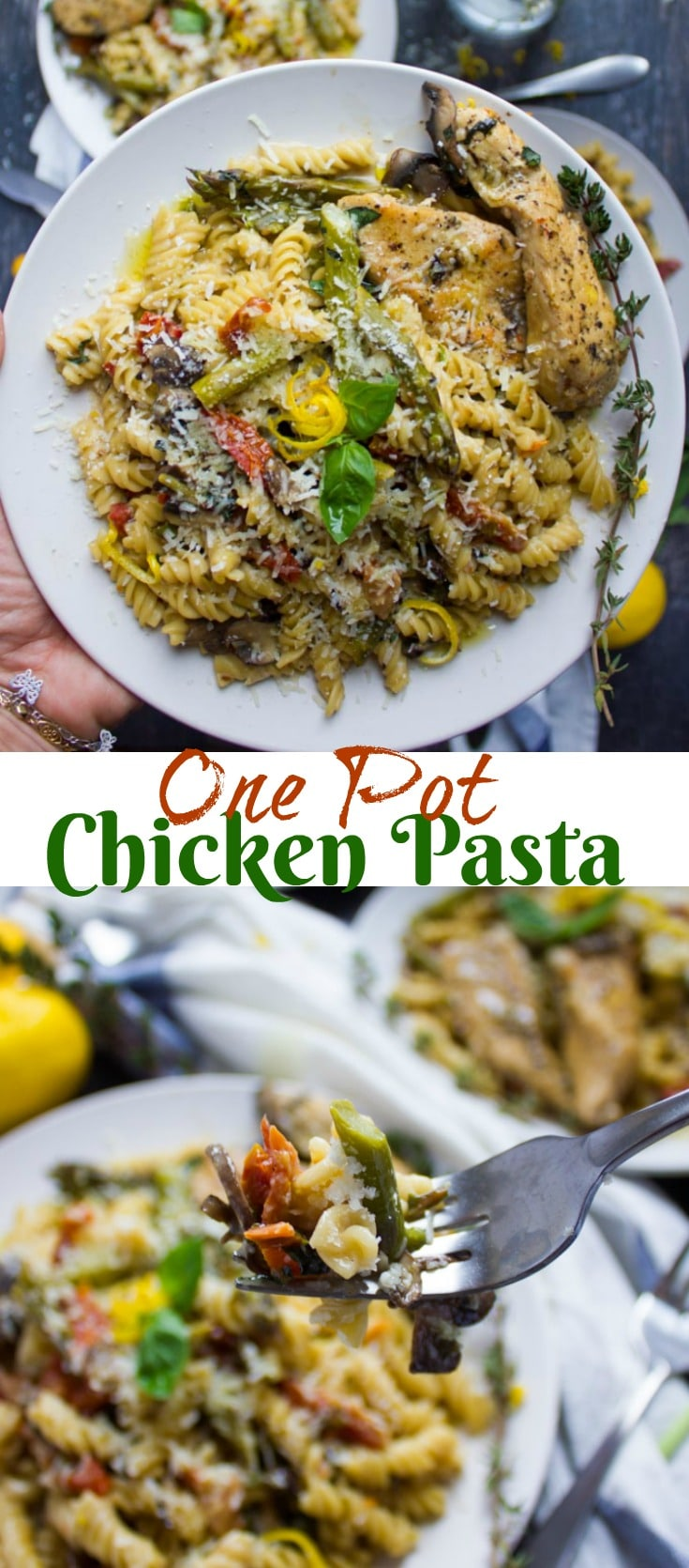 This quick, One-Pot Chicken Pasta Dinner is loaded with fresh veggies and packs a good serving of protein from the succulent chicken. The best part: it comes together in just 10 minutes of cooking time! #chickenpasta, #onepotpasta, #instantpotpasta