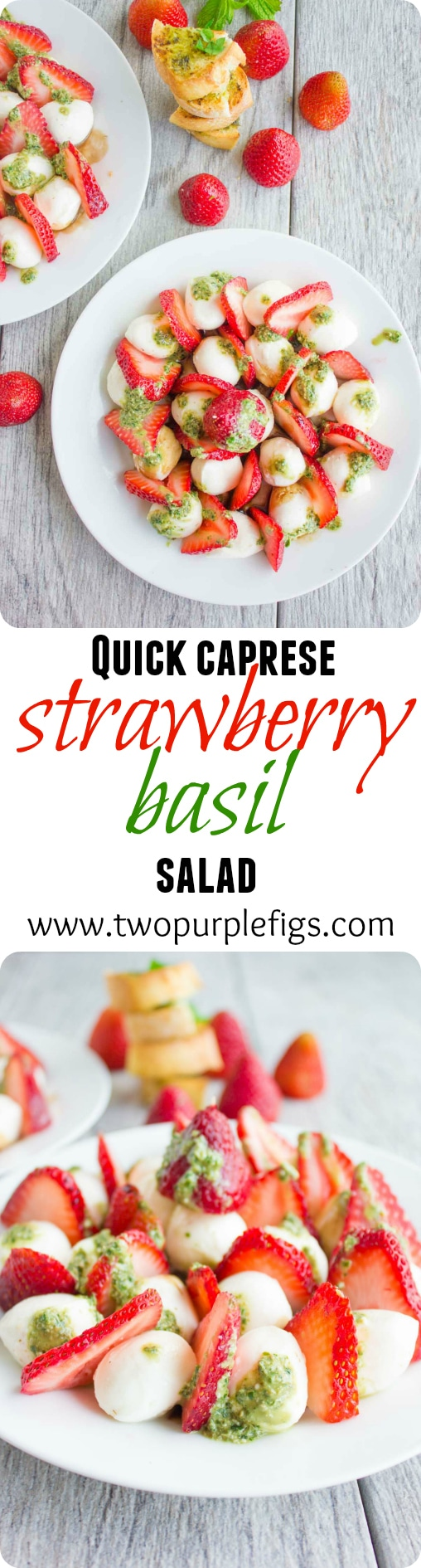 Quick Caprese Salad with Stawberries & Basil Pesto   www.twopurplefigs.com  #healthy, #italian, #pesto, #easy, #skewers, #fingerfood,