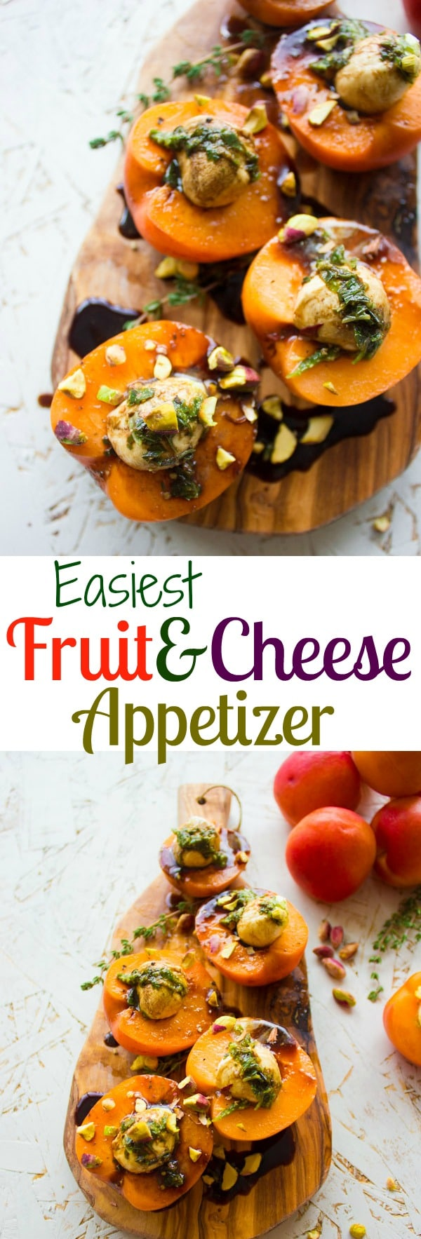 These mozzarella stuffed apricots are a quick and easy appetizer! An elegant, timeless pairing of fruit and cheese that will leave everyone impressed!#appetizer, #apricotrecipes, #fingerfoodrecipes, #partyfood
