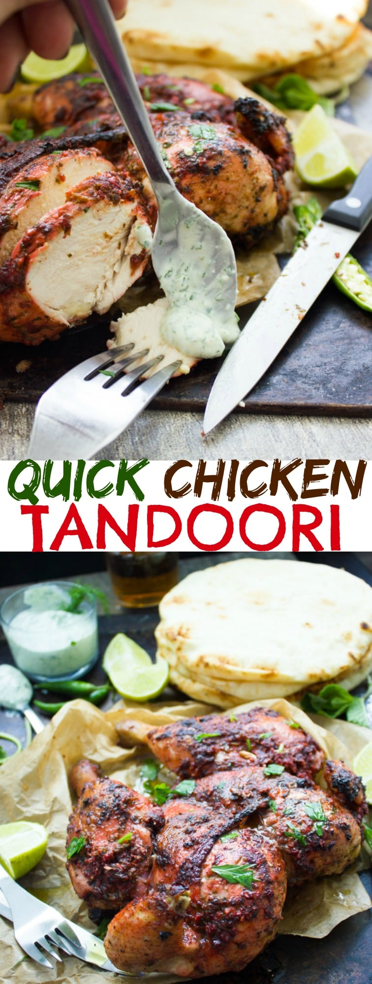 Quick Roast Tandoori Chicken | This Indian-inspired whole roasted tandoori chicken seasoned liberally with a homemade tandoori masala spice mix turns out juicy and tender with the crispiest skin imaginable! The best thing? You don't even have to marinate the chicken before baking! #chicken, #dinner, #easy, #roasted, #Indian,
