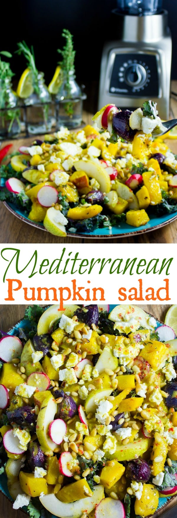 Mediterranean Roasted Pumpkin Salad | Explore the savory side of Pumpkin with this Mediterranean Roasted Pumpkin Salad - zesty, spicy and comforting, with lots of added fruit and nuts, this makes for the perfect side for your Thanksgiving feast or any other festive dinner. It can also easily be made vegan! #saladrecipes, #easyrecipes, #healthydinner, #mealprep, #pumpkin, #fallrecipes