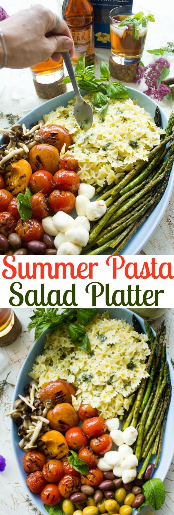 This easy summer pasta salad with mozzarella, grilled vegetables, fresh fruit and salty olives is the perfect healthy salad for big crowds. Serve it warm or cold and drizzle it with my zesty and bright Sweet Tea Dressing! #saladrecipes, #saladplatter, #pastasalad, #bbqrecipes