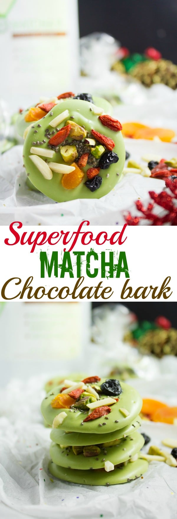 If you're looking for a perfect homemade Holiday gift this year make this Matcha Green Tea White Chocolate Bark topped with assorted superfoods like chia seeds, dried blueberries, and goji berries! #chocolatebark, #matcha, #homemadegifts, #ediblegifts, #superfood