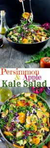 Kale Salad with Apples, Persimmon and Pomegranate Seeds - Pin