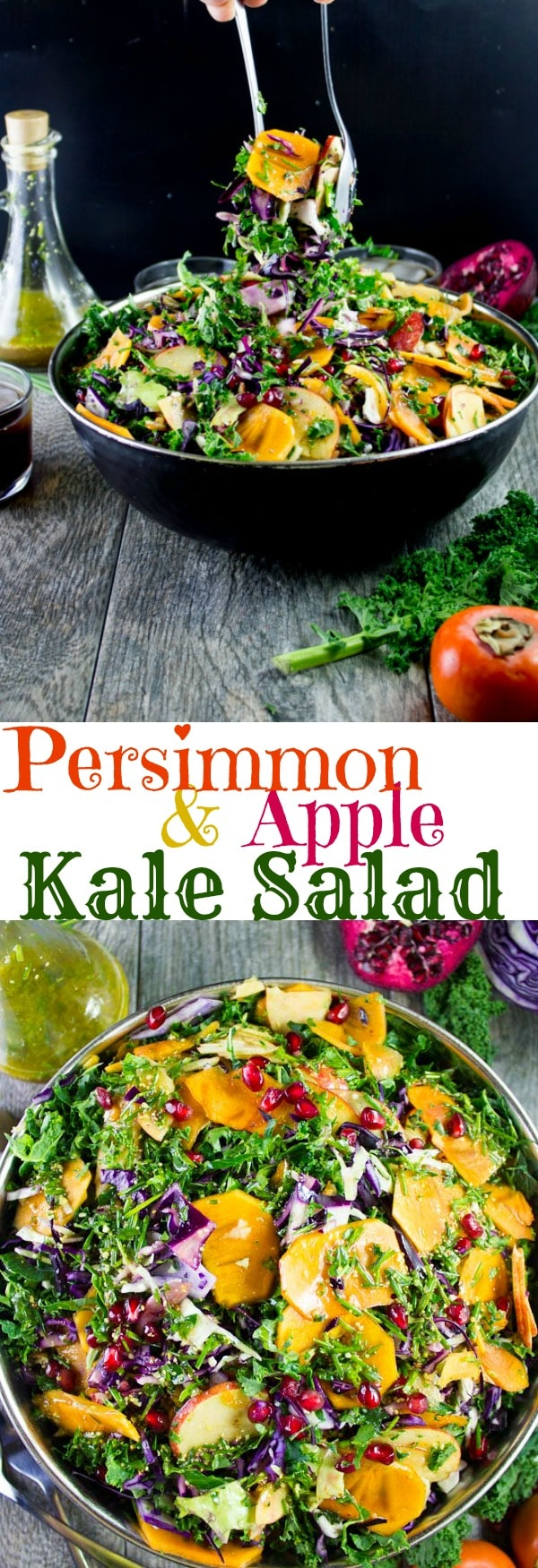 Persimmon & Apple Kale Salad | This Kale Salad with apples, persimmon, cabbage and pomegranate seeds is a celebration of fall fruit and vegetables! Serve this vegan, healthy and delicious superfood salad with my sweet Coca-Cola Dressing! #salad, #kale, #superfood, #vegan, #realfood, #mealprep, #easy, #healthy