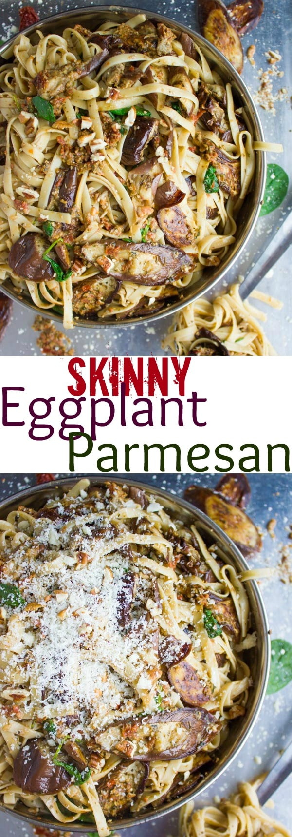 Skinny Eggplant Parmesan Pasta | Fans of Parmigiana will love this flavorful, light twist on an all-time favorite. The eggplant is roasted until tender, tossed with pasta and smothered with flavourful sun-dried tomato pesto. This lovely pasta dish is light, vegetarian and gluten-free.#vegetarian, #pasta, #Italian, #easydinner, #healthy, #parmigiana