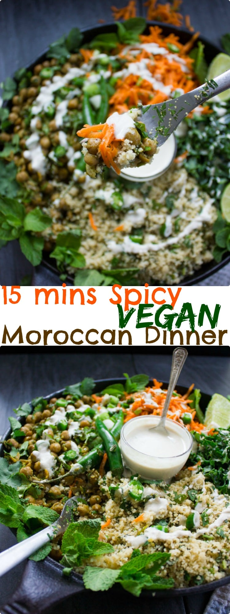 Long Pin for Spicy Vegan Chickpea Moroccan Couscous