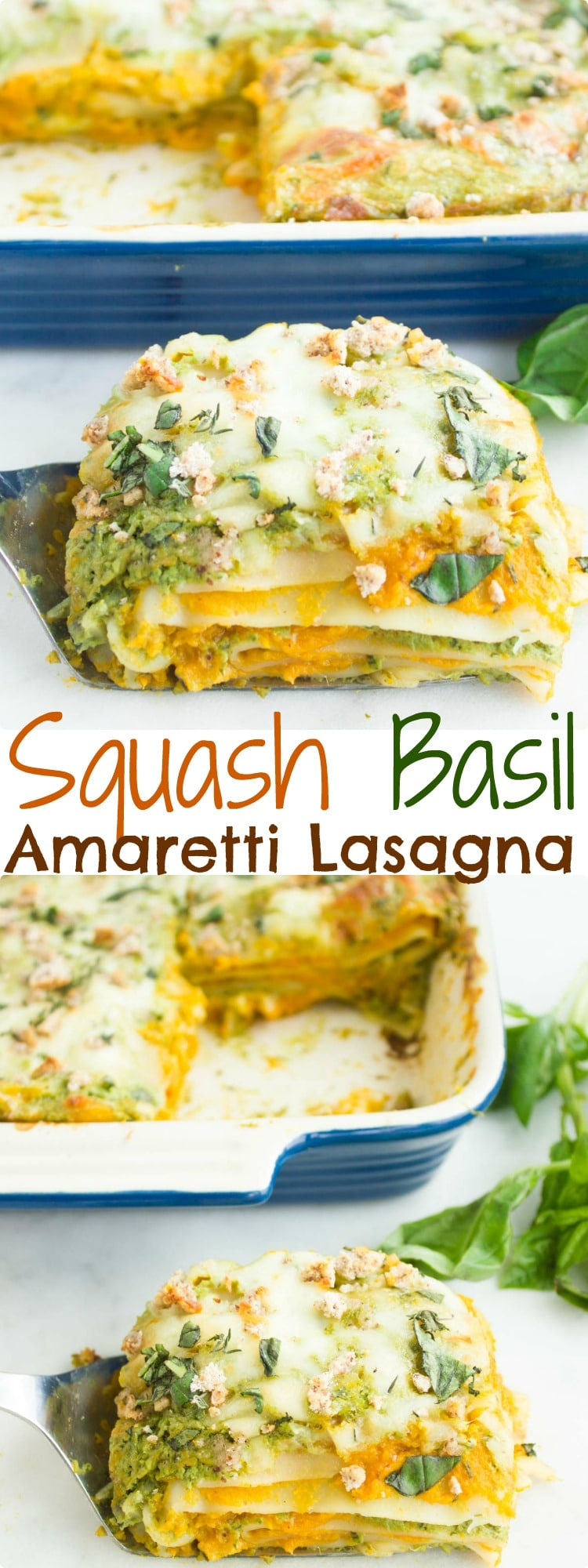 Butternut Squash Lasagna with Basil Bechamel & Amaretti Cookies | This fall-inspired Butternut Squash Lasagna is layered with sweet and nutty squash puree, crumbled Italian Amaretti cookies and a basil-scented bechamel sauce! A show-stopping vegetarian pasta dish for guests! #pasta, #fall, #squash, #easy, #lasagna, #amaretti, #Italian