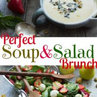 Strawberry Spinach Salad and Vegan Artichoke Soup | Try these easy spring dishes for Mother's Day or any festive brunch or lunch in spring | www.twopurplefigs.com | #easy, #brunch, #mothersday, #lunch, #vegan, #creamy, #healthy, #paleo