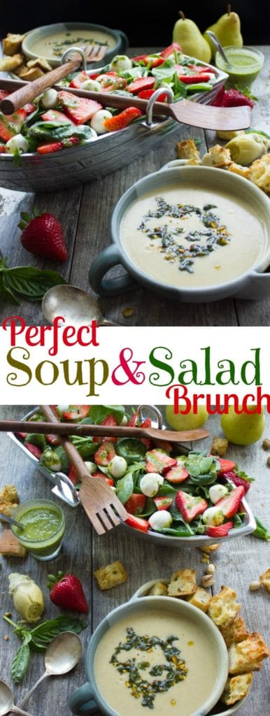 Strawberry Spinach Salad and Vegan Artichoke Soup | Try these easy spring dishes for Mother's Day or any festive brunch or lunch in spring | www.twopurplefigs.com | #easy, #brunch, #mothersday, #lunch, #vegan, #creamy, #healthy, #paleo, light
