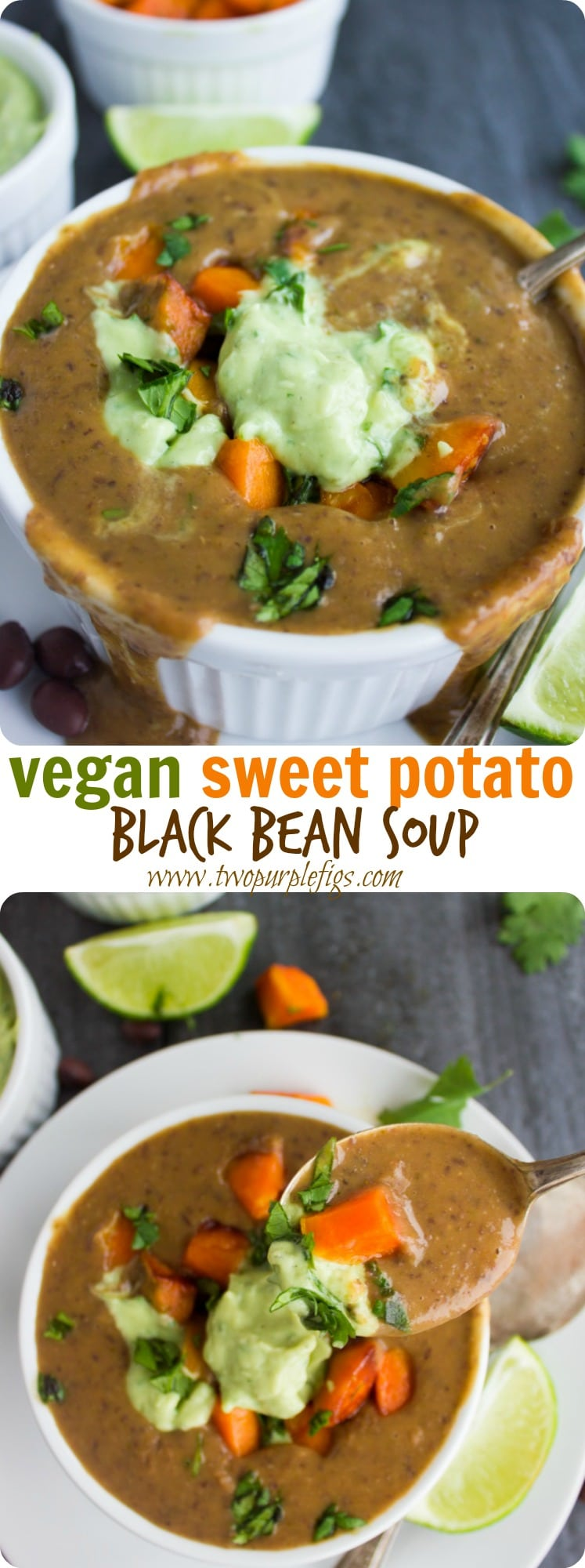 VEGAN SWEET POTATO BLACK BEAN SOUP | This easy yet impressive vegan recipe takes the Cuban comfort food classic Black Bean Soup to the next level with the addition of roasted sweet potatoes and a smooth and light avocado crema on top! The perfect vegetarian soup to serve on a cold winter day. #souprecipe, #Cuban, #blackbeansoup, #Mexican, #vegetarian,