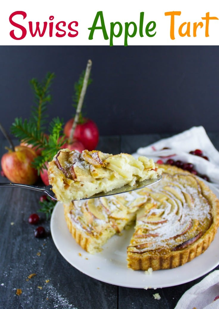 Swiss Apple Tart   There's a secret layer of crushed almonds at the bottom of the buttery pie crust and an ultra creamy, luscious vanilla custard is poured over the sliced apples before baking. The result is an elegant fall dessert perfect for the holidays! #tart, #Swiss, #dessert, #Thanksgiving, #apples, #custard,