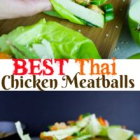 Thai chicken meatball lettuce wraps