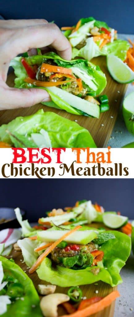 Thai chicken meatball lettuce wraps