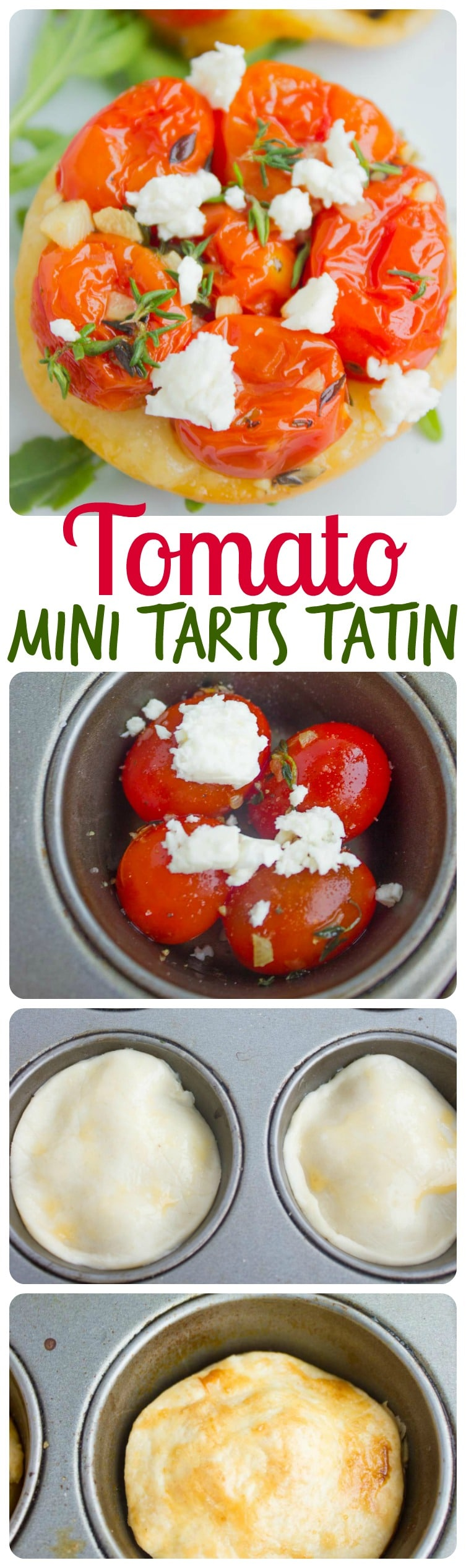 This easy Mini Tomato Tarts Tatin recipe is the perfect appetizer or finger food to impress your guests with! Tomatoes are sautéed with garlic, topped with salty feta and fresh thyme, and all covered in a flaky pie doughand baked in a muffin tin until golden crisp, softened and caramelized when flipped. #tartetatin, #appetizer, #frenchrecipes, #fingerfood