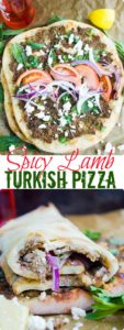 "Turkish Pizza ""Lahmacun"" - try my easy recipe for homemade Turkish Pizza with seasoned beef or lamb, fresh herbs and crumbled cheese. Your whole family will love this simple Turkish street food recipe, which can be made with homemade or store-bought dough 