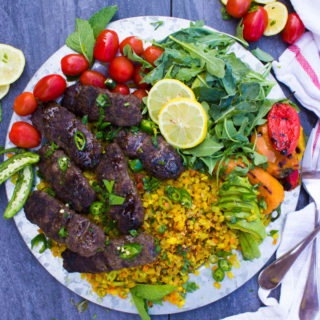 Turmeric Cauliflower Rice and Kebab Platter