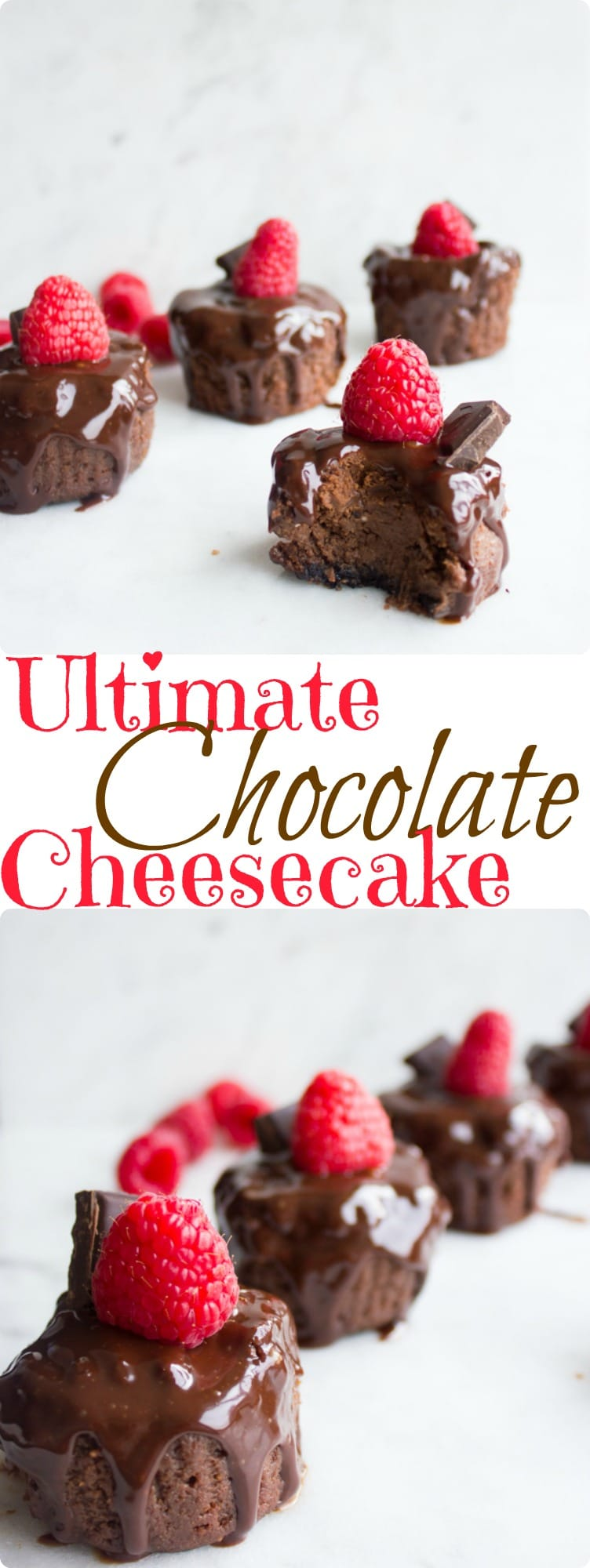 This ultimate chocolate cheesecake recipe is a chocolate lover's dream. It has a rich chocolatey taste and a luscious creamy texture. Made with low-fat cream cheese and light sour cream, it has fewer calories than regular cheesecake but tastes just as decadent as you'd expect of a chocolate dessert. #dessert, #chocolate, #cheesecake, #bitesized, #partyfood, #petitfour