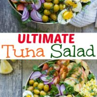 Ultimate Tuna Salad with Olive Dressing - an easy recipe for the best tuna salad you will ever eat - with fresh apples, olives, dill and boiled eggs. #easy, #salad, #tuna, #healthy, #eggs, #lowcarb, #best, #simple