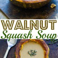 Walnut Squash Soup served in a squash