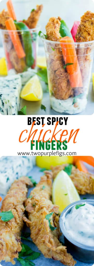 Best Spicy Chicken Fingers | an easy recipe for the best fried chicken fingers with crunchy crust and moist tender chicken | www.twopurplefigs.com | #chicken, #homemade, #fried, #crispy, #easy, #dinner, #breaded