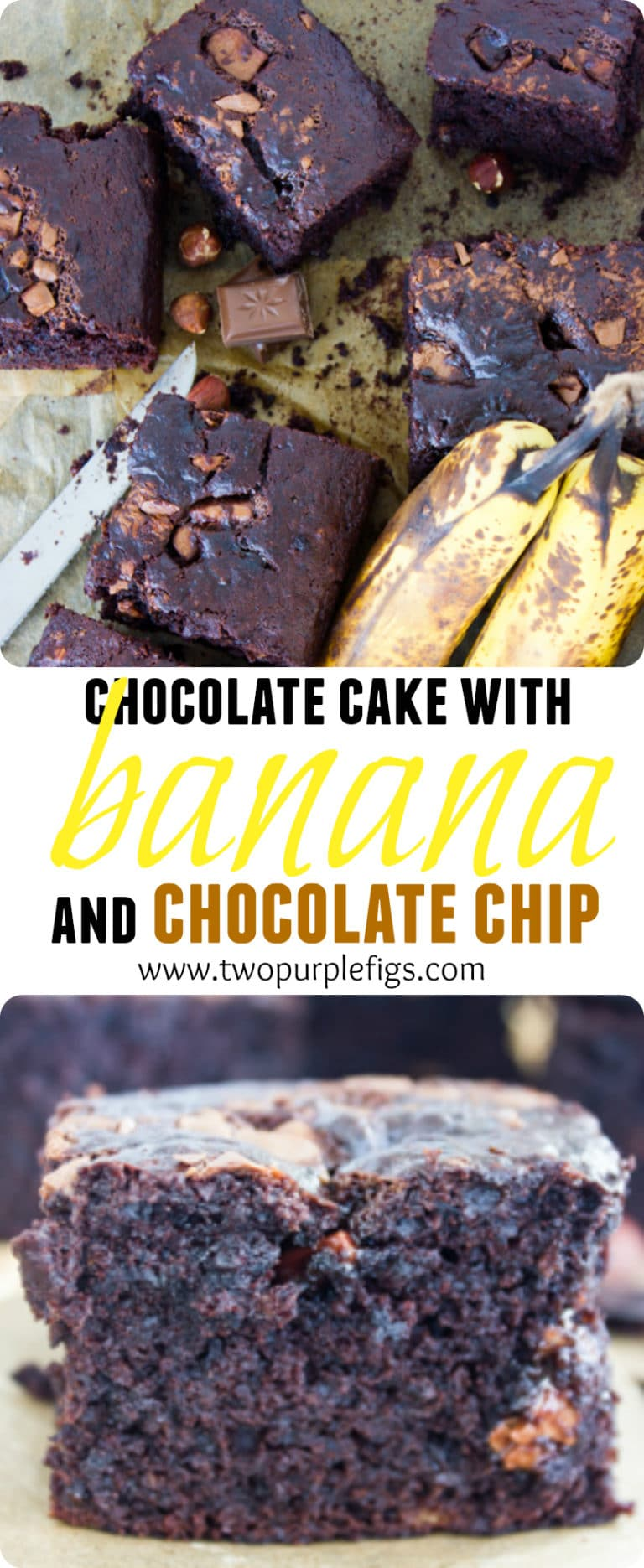 Chocolate Cake with Banana and Chocolate Chips | this easy loaf cake recipe is everything you dream about. Imagine a rich, moist, chocolate cake with a hint of banana flavor and lots of chocolatey bursts from the chocolate chips.| www.twopurplefigs.com | #easy, #cake, #dessert, #moist, #birthday, #simple