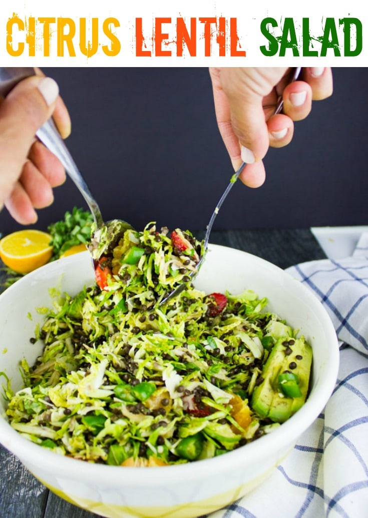Citrus Lentil Salad with Shredded Brussel Sprouts | This gorgeous lentil salad with Brussel sprouts, apples, strawberries and a zesty Orange Dressing makes for a healthy, protein-packed salad, that can be served as a side dish or a light main course! #healthy, #protein, #vegetarian, #salad, #easy, #dressing, #summer, #light, #lunch