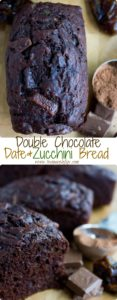 Double Chocolate Date Zucchini Bread | an easy healthy loaf cake with shredded zucchini for moisture and dates for sweetness | www.twopurplefigs.com | #healthy, #easy, #loaf, #bread, #moist