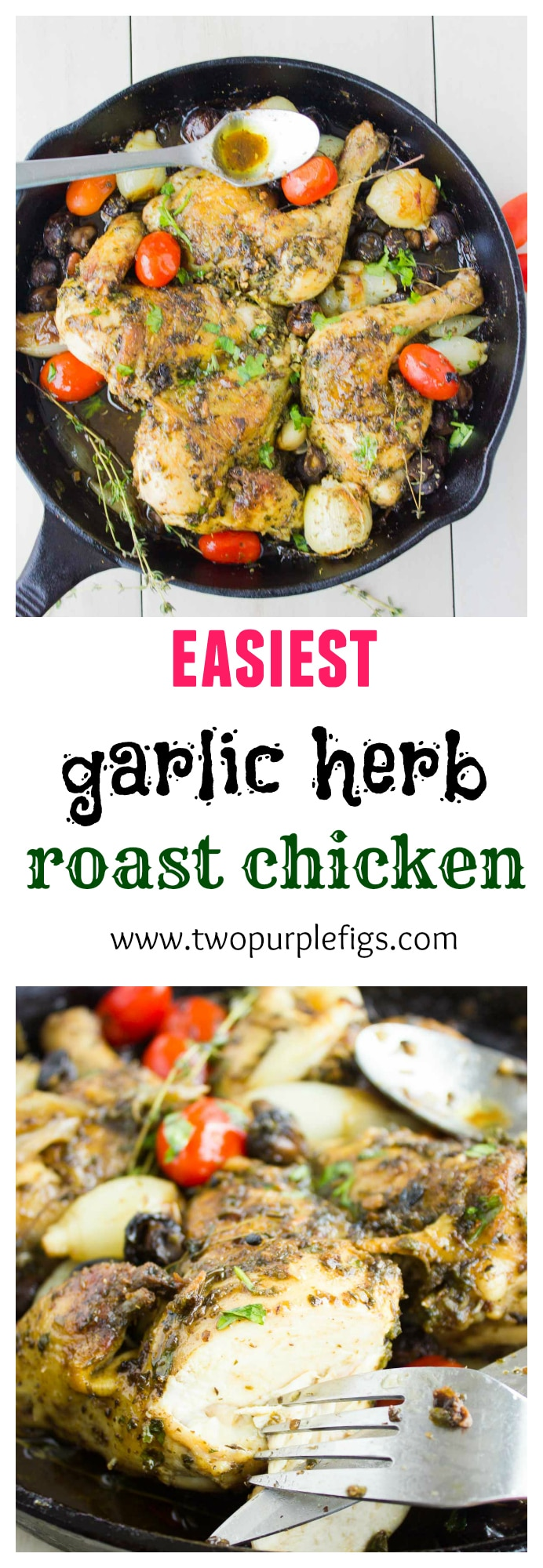 Easy Garlic Herb Roast Chicken   this recipe is the most straightforward, foolproof way to roast any whole chicken. Infused with herbs and spices and roasted with onions, garlic, mushrooms and herbs, Roast Chicken will be perfectly juicy and tender in just 35 minutes. #chicken, #roast, #easy, #skillet, #keto, #lowcarb, #juicy, #quick, #dinner