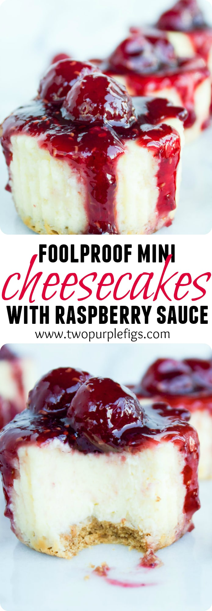 Looking for an easy mini cheesecake recipe? These mini raspberry cheesecakes with a simple cookie bottom and a homemade 1-minute raspberry sauce are the ticket!#minicheesecakes, #raspberrycheesecake