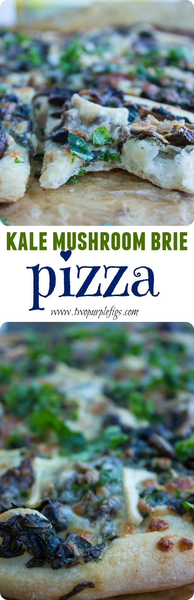 This kale mushroom brie pizza recipe is what gourmet pizza stands for - thin, rustic and light.A mix of cream cheese, mozzarella, and brie makes for the perfect creaminess to balance the bitterness of the kale!#homemadepizza, #vegetarianrecipes, #thincrustpizza, #kalerecipes, #Italianrecipes