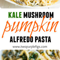 Kale Mushroom Pumpkin Alfredo Pasta | This Healthy Kale Squash Mushroom Pasta recipe is the perfect pasta dish! A quick and simple pasta recipe packed with flavor, colours and healthy veggies like kale, squash and mushrooms - all tossed in a light cream sauce that gives this quick pasta that luxurious feel of a creamy Alfredo sauce minus the guilt! | www.twopurplefigs.com | #fast, #healthy, #homemade, #creamy, #alfredo, #Italian, #dinner, #lunch, #meatless, #cheap