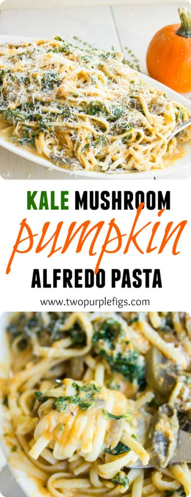 Kale Mushroom Pumpkin Alfredo Pasta | This Healthy Kale Squash Mushroom Pastarecipe is the perfect pasta dish! A quick and simple pasta recipe packed with flavor, colours and healthy veggies like kale, squash and mushrooms - all tossed in a light cream sauce that gives this quick pasta that luxurious feel of a creamy Alfredo sauce minus the guilt!| www.twopurplefigs.com | #fast, #healthy, #homemade, #creamy, #alfredo, #Italian, #dinner, #lunch, #meatless, #cheap