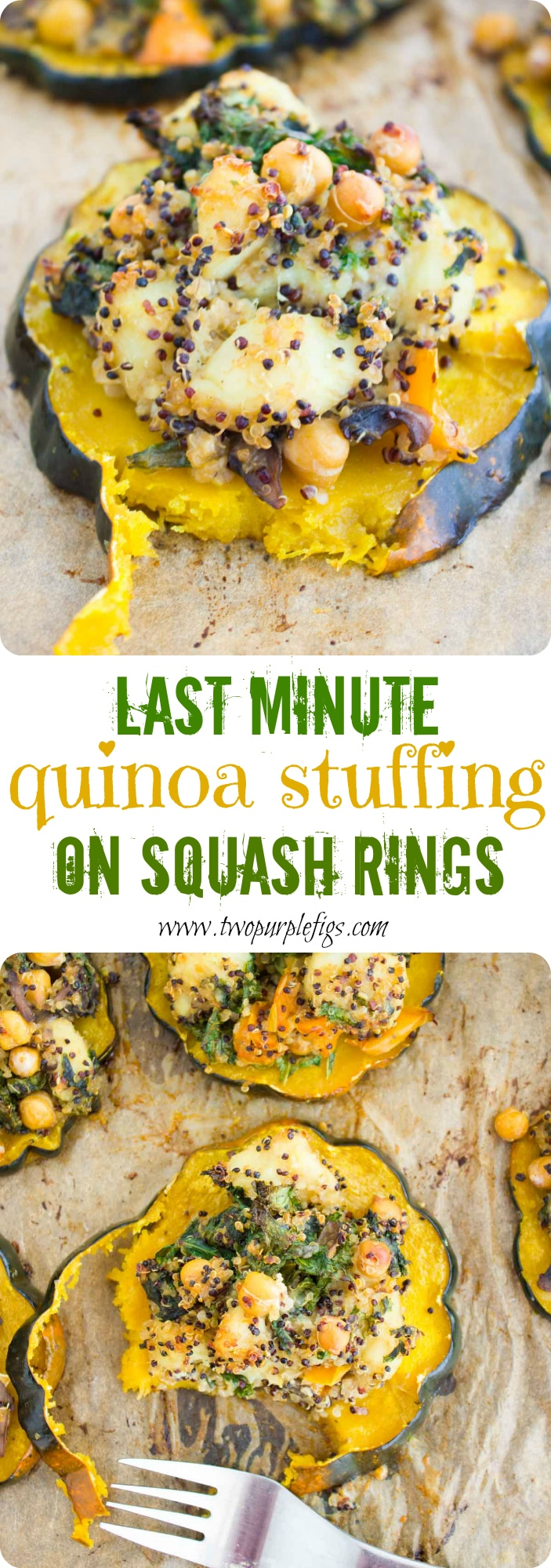 Last Minute Quinoa Kale Stuffing Topped Squash Rings | These pretty acorn squash rings topped with a vegetarian Quinoa Kale Stuffing are just about the prettiest Thanksgiving side dish you can imagine! The easy and healthy recipe is totally customizable and can be made vegan by leaving out the parmesan cheese. #thanksgiving, #holidays, #side, #acornsquash, #lastminuterecipe, #vegetarianrecipe