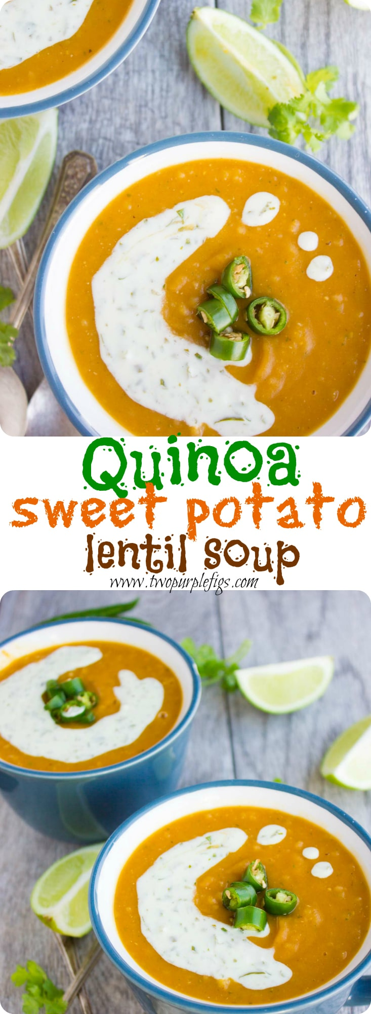 Quinoa Sweet Potato Lentil Soup | Enjoy a bowl of this healthy lentil soup with red lentils, sweet potatoes, apples and quinoa seeds! Drizzle this filling fall-inspired soup with my refreshing and tangy cilantro & lime cream to take your soup game to the next level! #soup, #fall, #dinner, #easy, #starter, #creamy, #Mexican, #lentils,