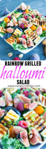 Grilled Halloumi Salad with Balsamic Reduction | The perfect light lunch salad for lovers of cheese, nuts and fruit | www.twopurplefigs.com | #grilled, #easy, #summer, #healthy,#lunch, #light, #low-carb